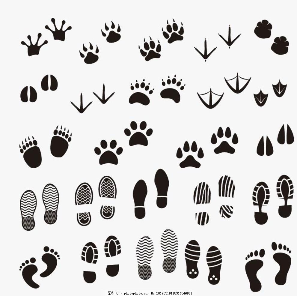 卡通脚印矢量 矢量手绘 卡通动物公仔 动物形象 插画 猫头鹰 老虎狮子