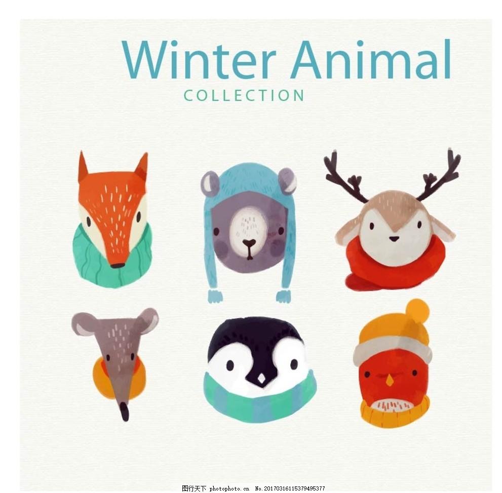 猪牛羊 鸡鸭鹅 奶牛 狐狸 动物插画 动物园 幼儿园 可爱动物 扁平化