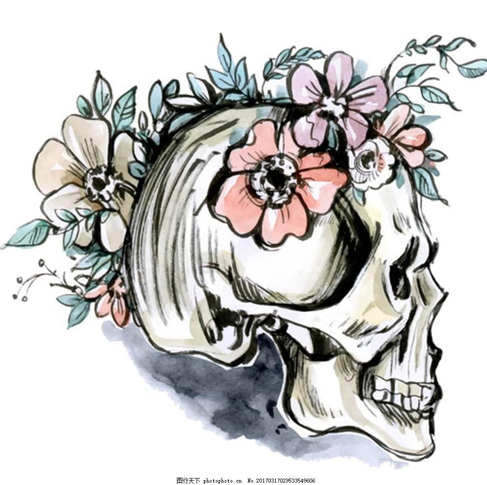 手绘水彩花卉骷髅头骨插图