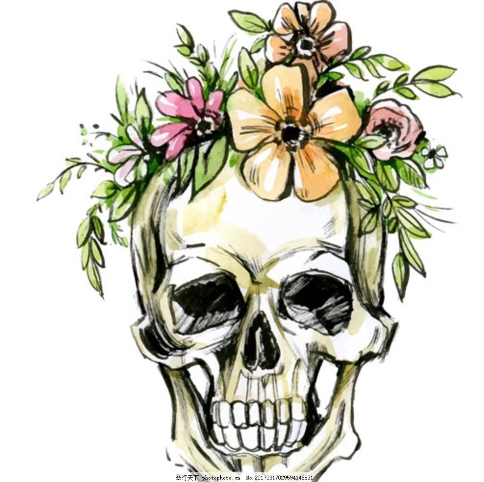 手绘水彩骷髅头骨花卉插图