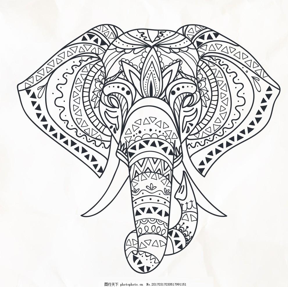 卡通大象线描矢量 矢量手绘 卡通动物公仔 动物形象 插画 猫头鹰