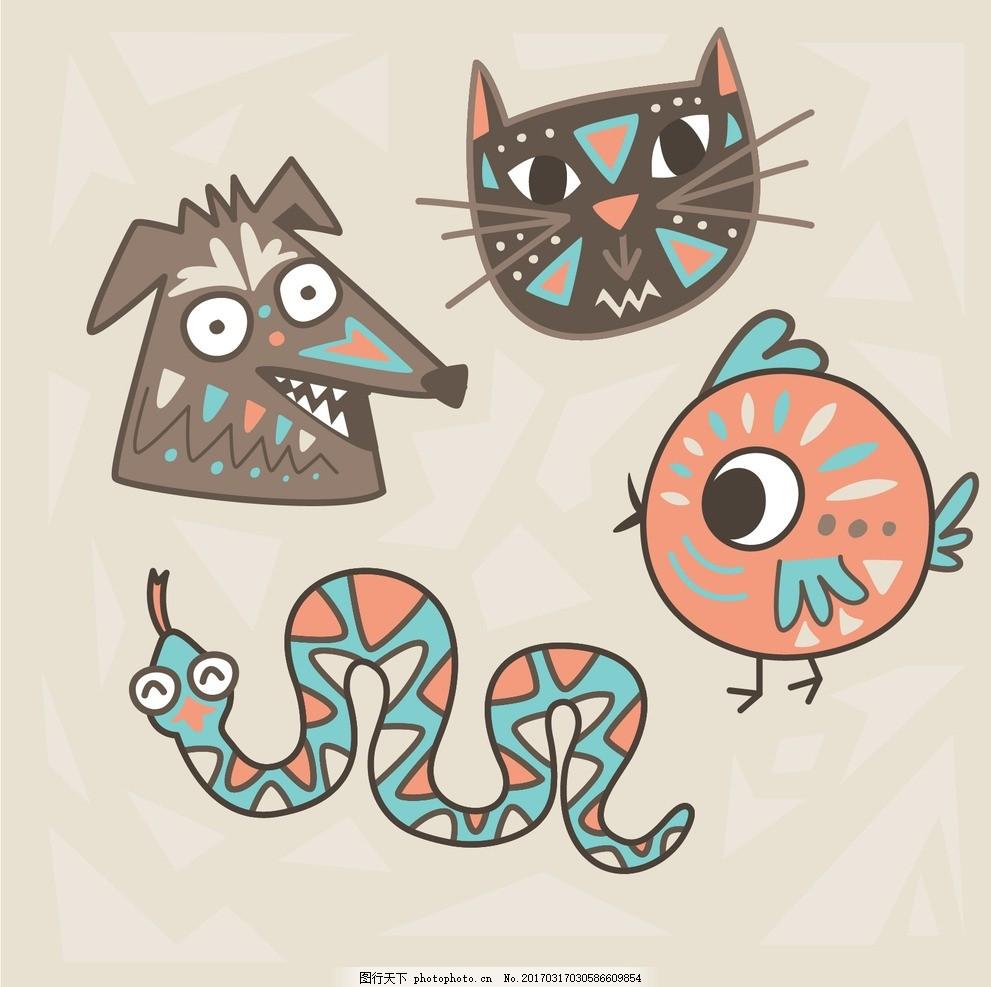 矢量手绘 卡通动物公仔 动物形象 插画 猫头鹰 老虎狮子 生肖 动漫