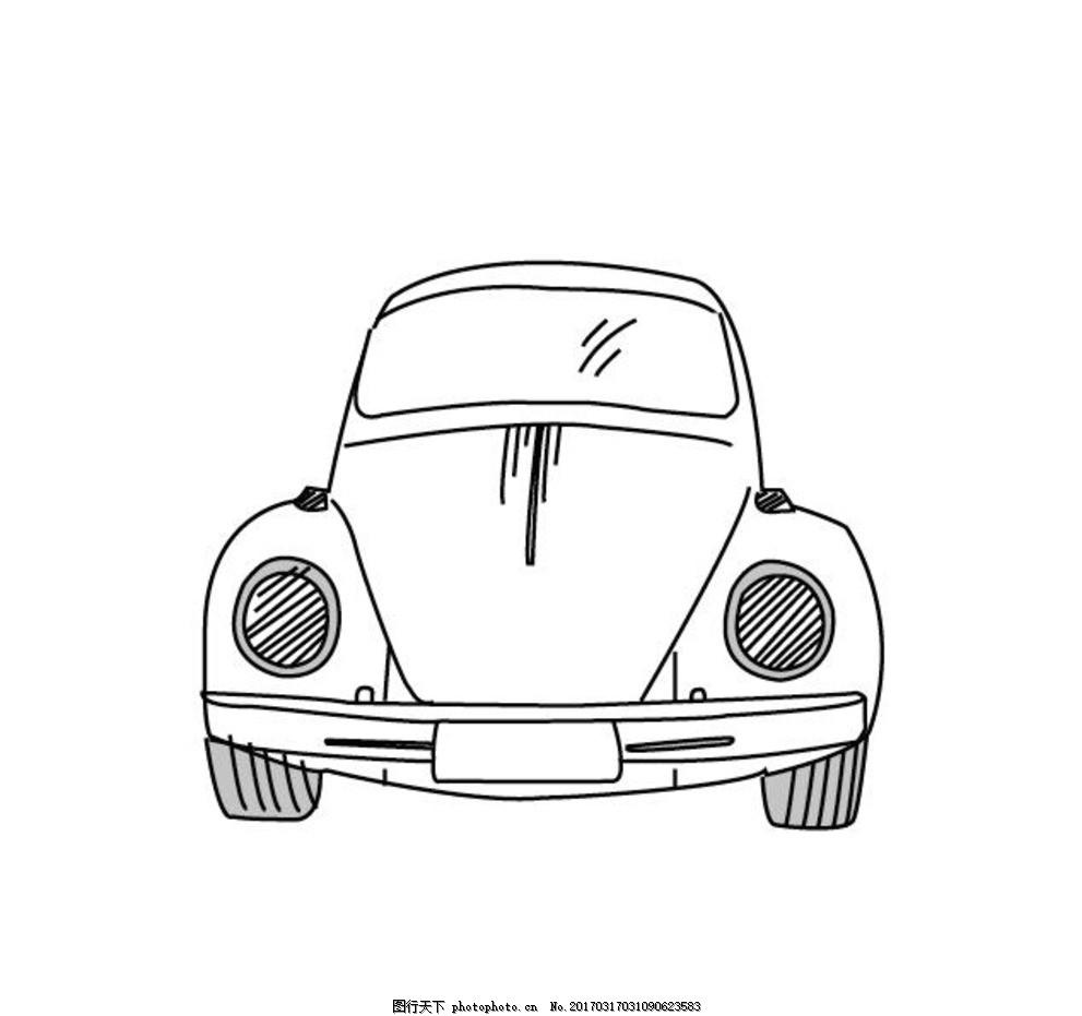 小车手绘简笔画线稿图 汽车 轿车 线条画 矢量图