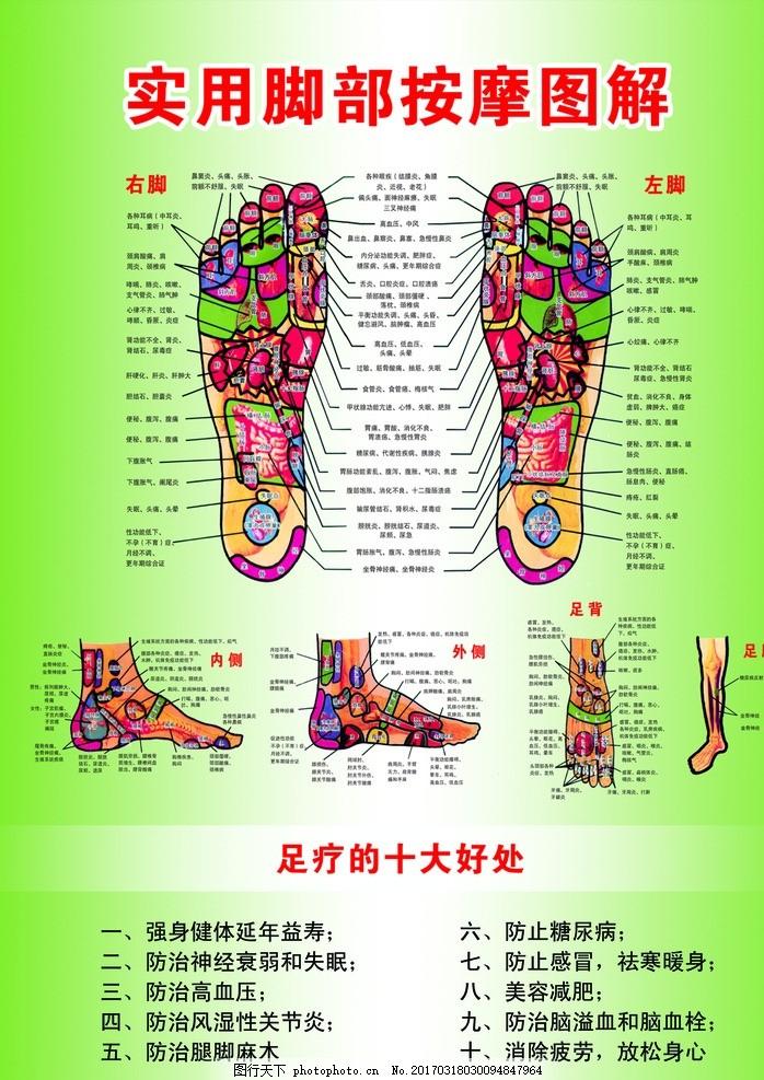 实用脚部按摩图解 绿色 渐变 脚底 学位 经络 海报 足疗