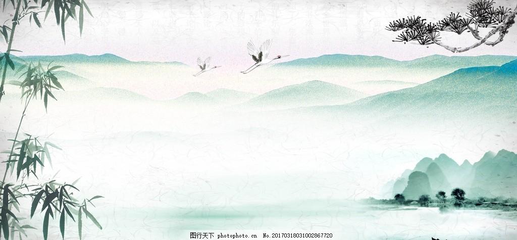 中国风背景 中国风 中国风海报 清明素材 中国风水彩 山水 水彩山水