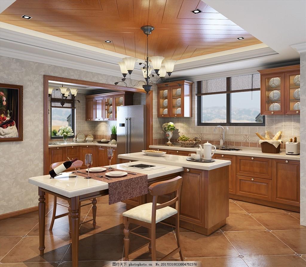 厨房餐厅效果图,实木 装修 装饰 吃饭 实木酒柜 简欧