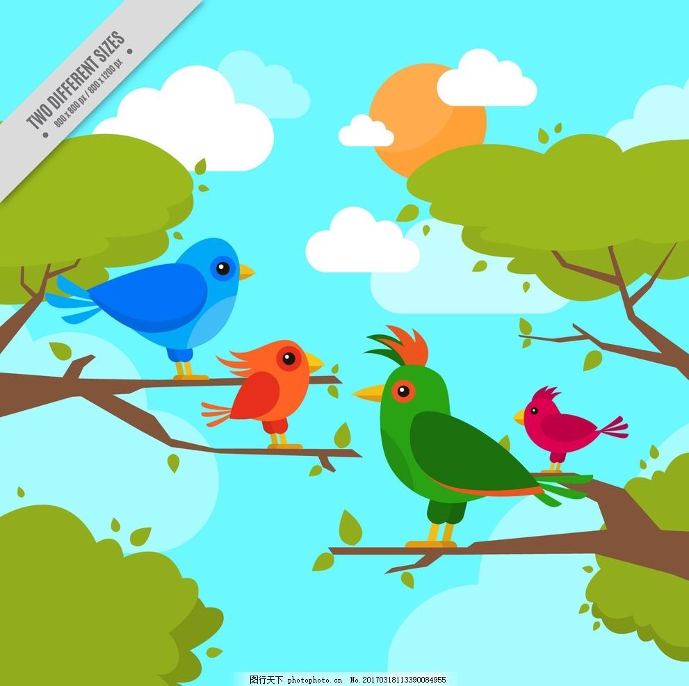 卡通树林小鸟矢量 矢量手绘 卡通动物公仔 动物形象 插画 猫头鹰