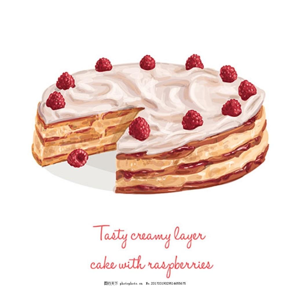 手绘水彩奶油草草蛋糕