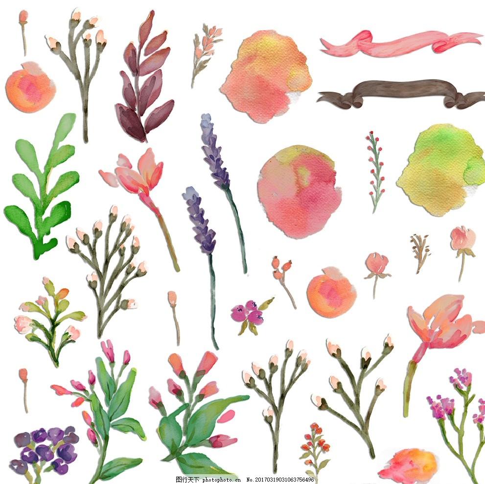 水彩 水粉 手绘 插画 插图 绘画 墨团 墨迹 飘带 彩带 树枝 花枝 枝干
