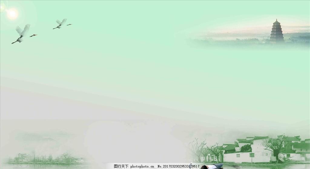 古风背景图片素材 塔 小船 清明促销 清明节海报 清明节宣