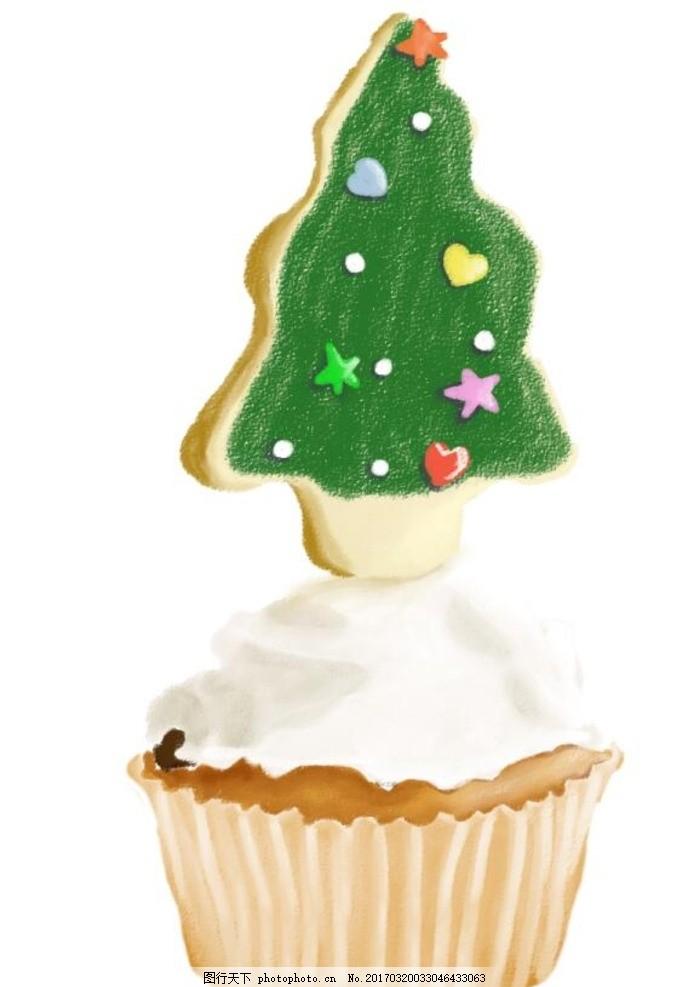 手绘卡通圣诞树蛋糕 圣诞树蛋糕 手绘 水彩 油画蛋糕 卡通蛋糕 蛋糕