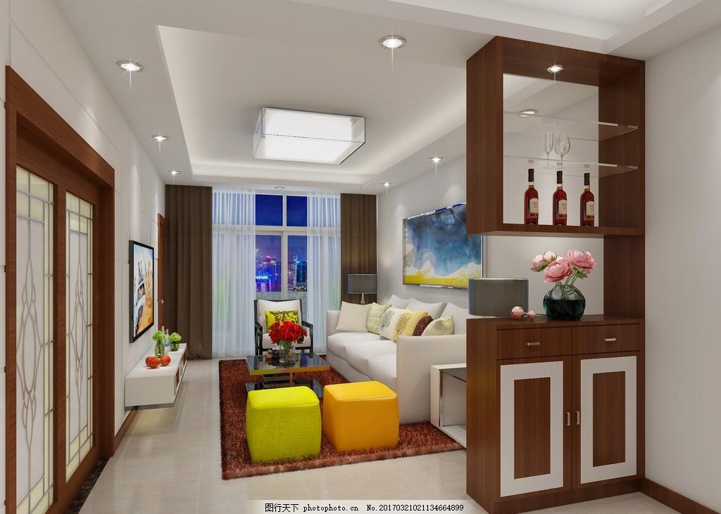 餐桌 现代 沙发 挂画 电视 玄关柜 酒柜 鞋柜 颜色 暗藏灯带