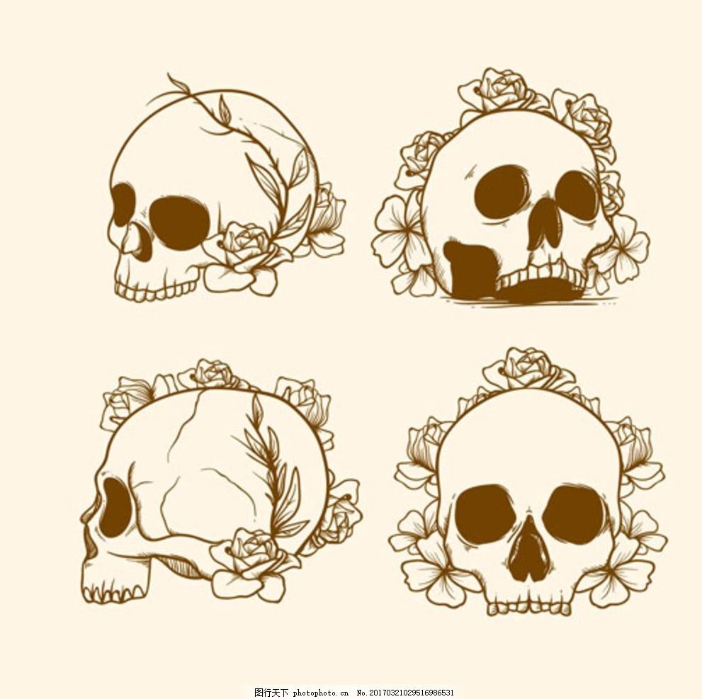 手绘线稿鲜花与骷髅头 水彩骷髅头 水彩花 素描 水墨 素材工作室