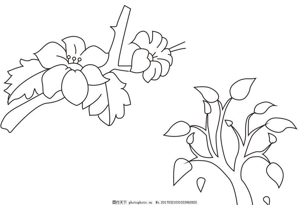 简笔画 植物简笔画 鲜花简笔画 树简笔画 桃花简笔画 简图-植物果树简