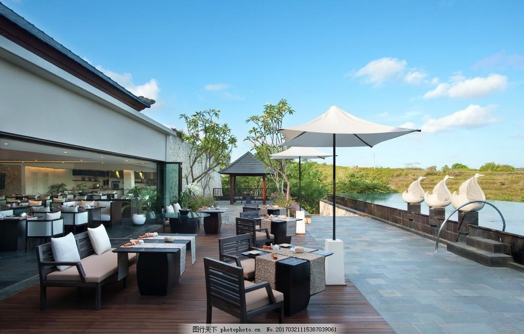巴厘岛乌干沙悦榕庄 池畔吧 池畔餐厅 无边泳池 露天泳池 休闲餐厅