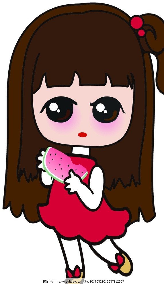 卡通 卡通女孩 可爱卡通女孩 女孩 吃瓜女 吃瓜女孩 吃西瓜 设计 动漫