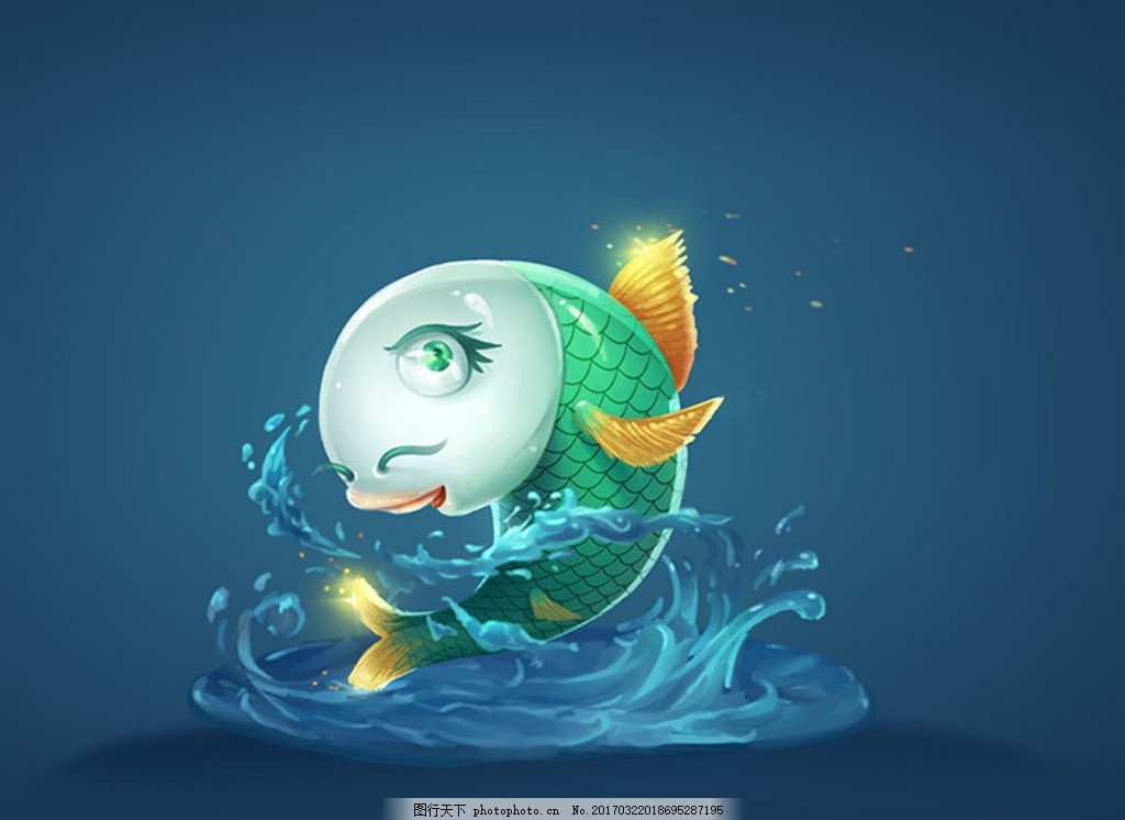 青鱼 可爱鱼 手绘鱼 动漫动画