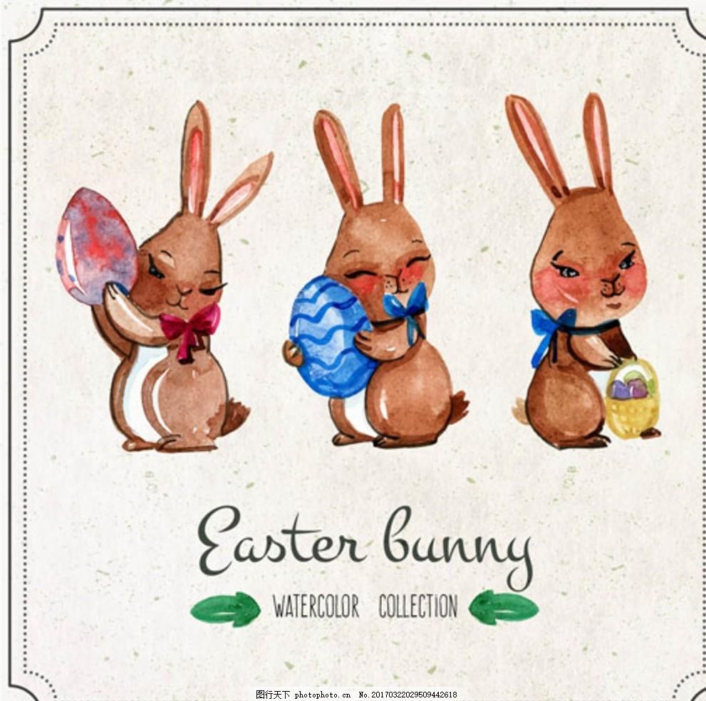 水彩复活节兔子插图