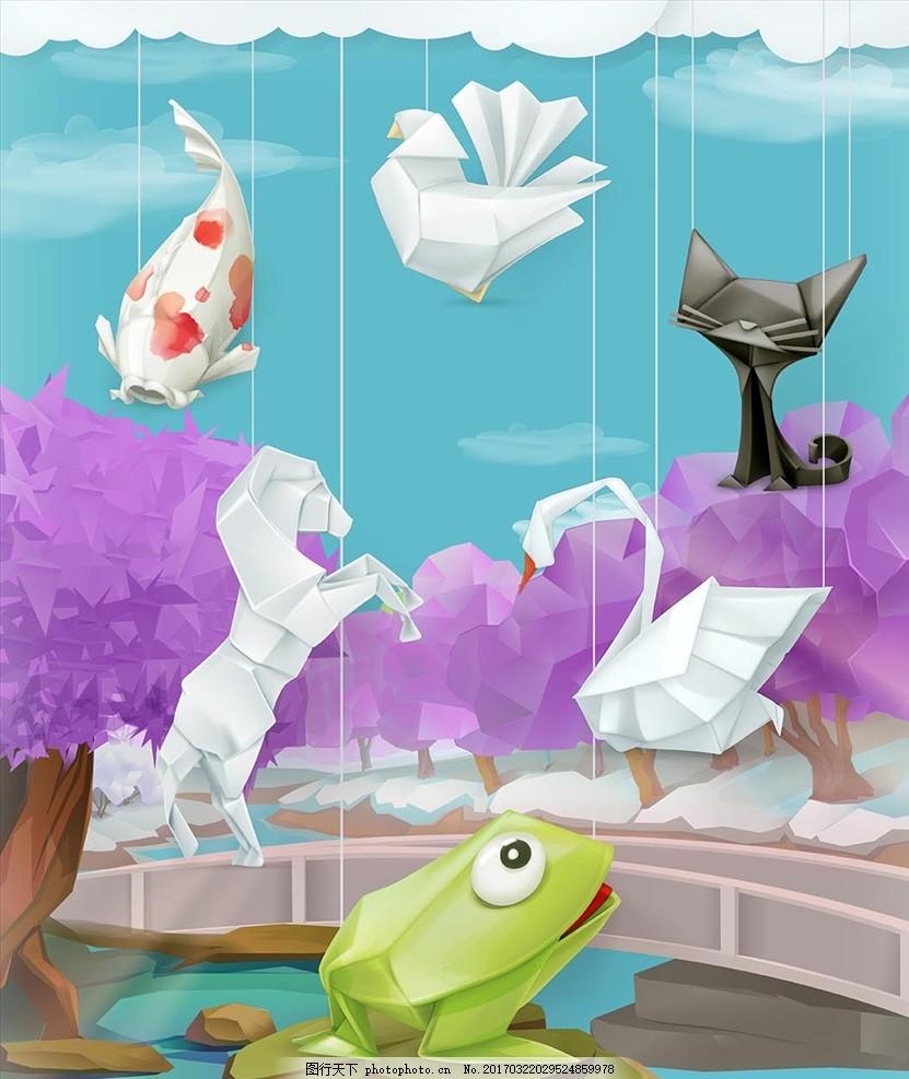 折纸艺术 矢量素材 折纸动物 蝴蝶 矢量 小动物 图标 扁平化 广告设计
