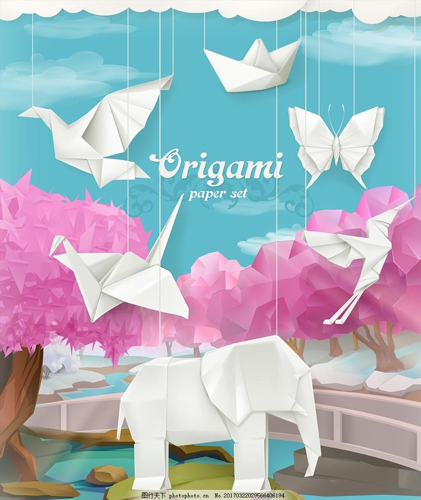 折纸艺术 矢量素材 折纸动物 蝴蝶 小动物 图标 扁平化 广告设计素材