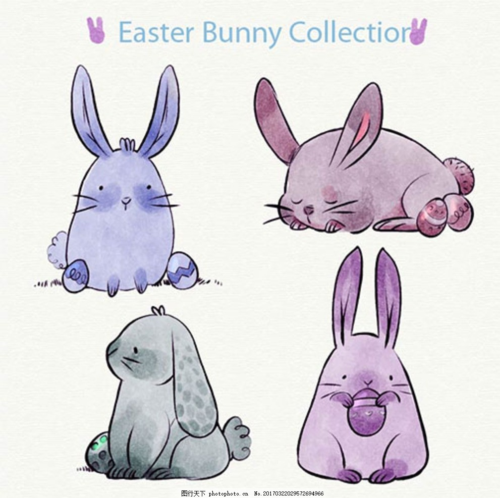 手绘水彩复活节兔子