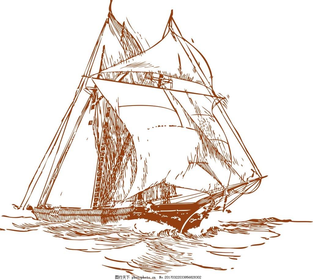 手绘 矢量船 手绘船 船 帆船 设计 其他 图片素材 cdr