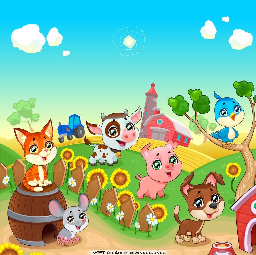 企鹅 大象 猴子 兔子 狗猫 熊猫 猪牛羊 鸡鸭鹅 奶牛 狐狸 动物插画