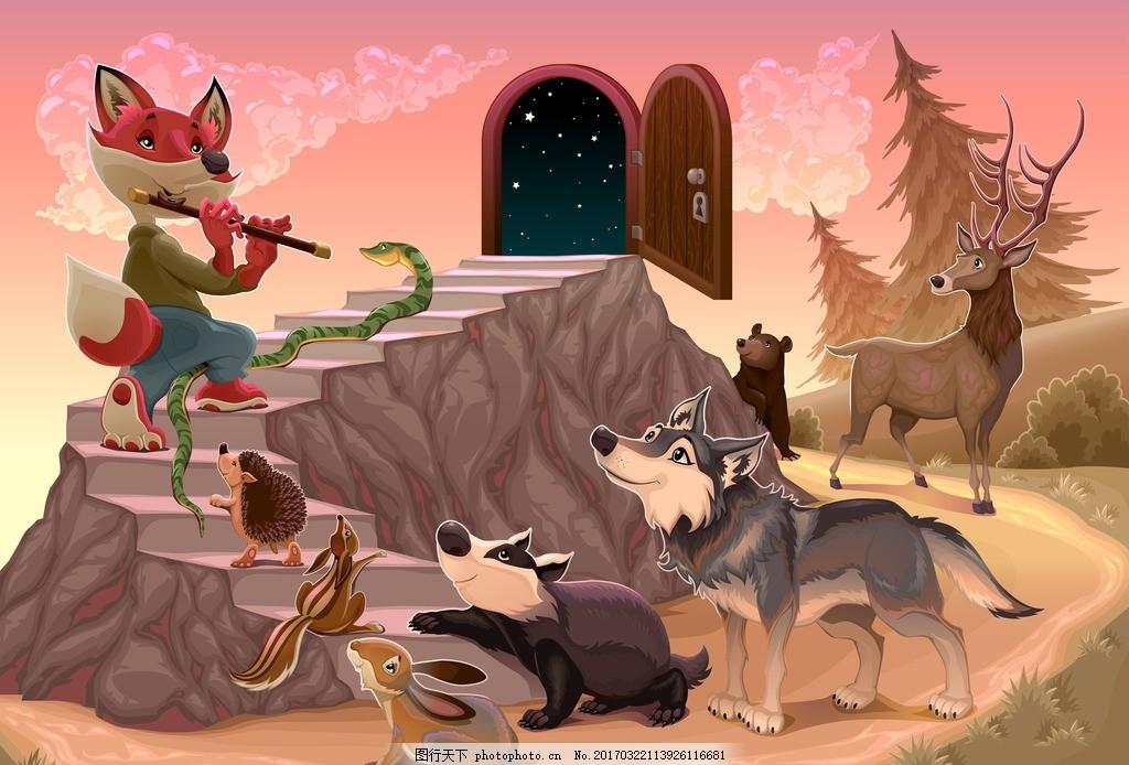 手绘卡通 卡通插画 手绘卡通动物 企鹅 大象 猴子 兔子 狗猫 熊猫 猪