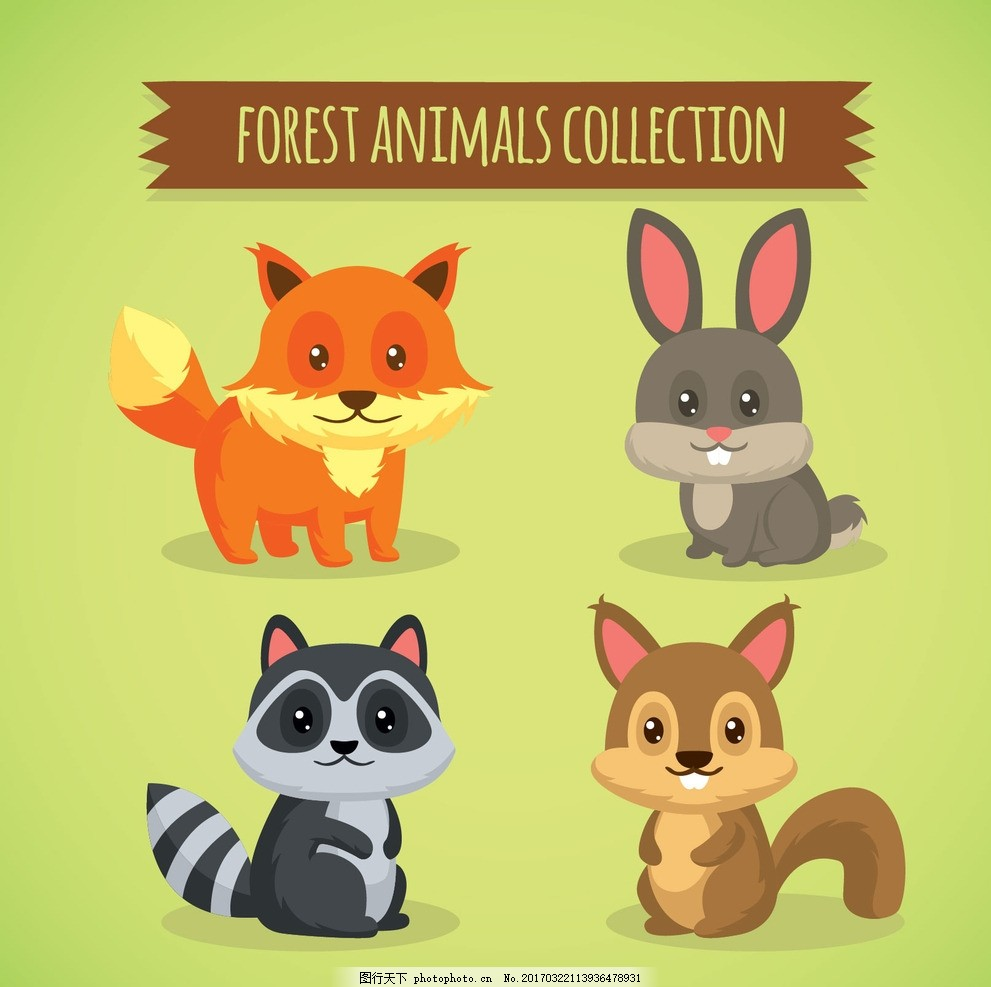 猴子 兔子 狗猫 熊猫 猪牛羊 鸡鸭鹅 奶牛 狐狸 动物插画 动物园 幼儿