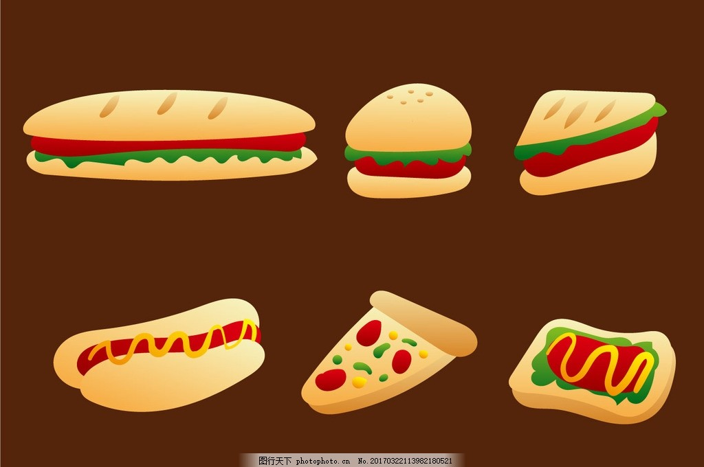 卡通食物 粉笔画 铅笔画 线稿 手绘 简笔画 卡通 食物 主食 快餐 素材