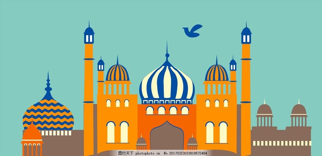 清真寺手绘图 城堡线描手绘 手绘线描寺庙 彩色手绘城堡 城堡寺庙手绘