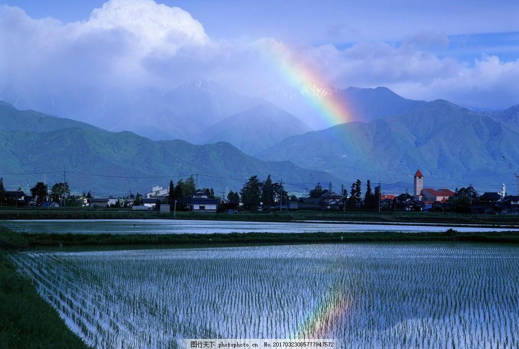 田野 乡村 农村 彩虹 雨后 农田 田园风光 摄影 素材 自然风景山水