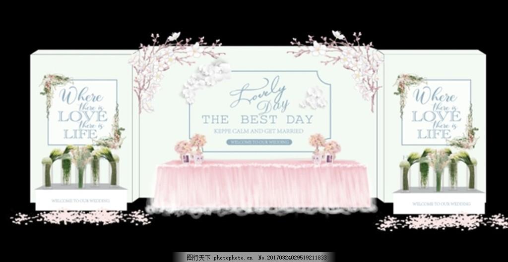 婚礼签到台 签到区 婚礼背景 婚庆 新人迎宾牌 白色韩式婚礼 韩式婚礼