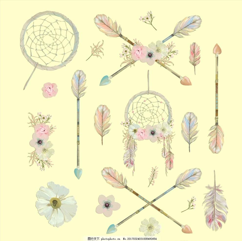 水粉 手绘 绘画 绘图 插图 插画 鸟羽 网兜 捕梦网 印第安 银莲花