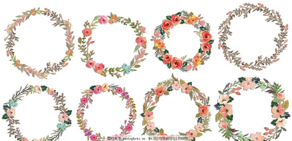 水彩手绘花环花圈