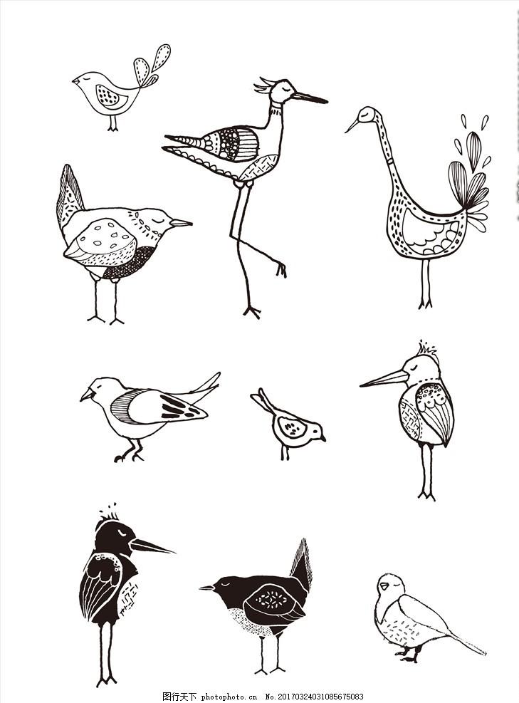 黑白线条手绘小鸟 矢量 卡通 涂鸦 简笔画 简单 线描 线条绘画