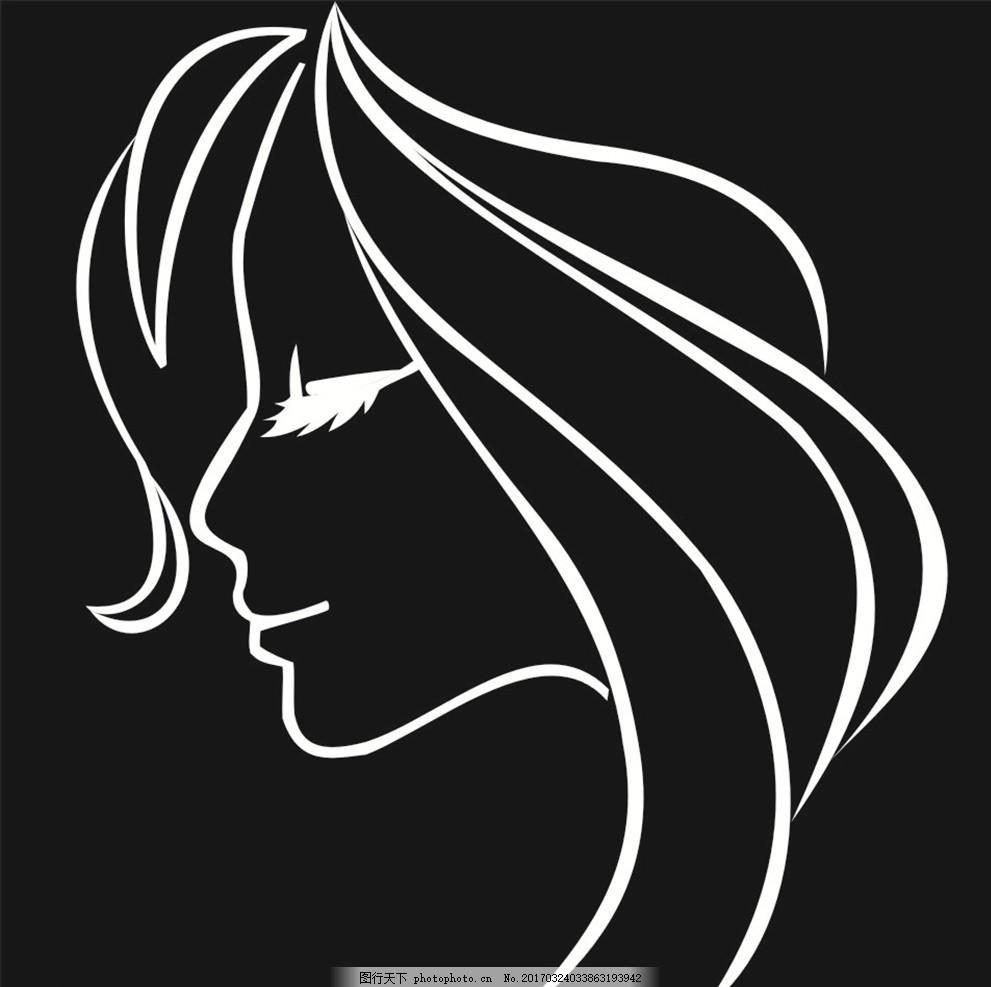 造型 发型 卡通女人 侧脸 头发 图片素材