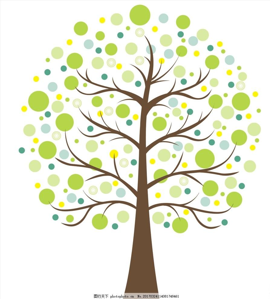 春天绿树矢量素材 卡通树 矢量树 彩色树木 清新 文化艺术 绘画书法