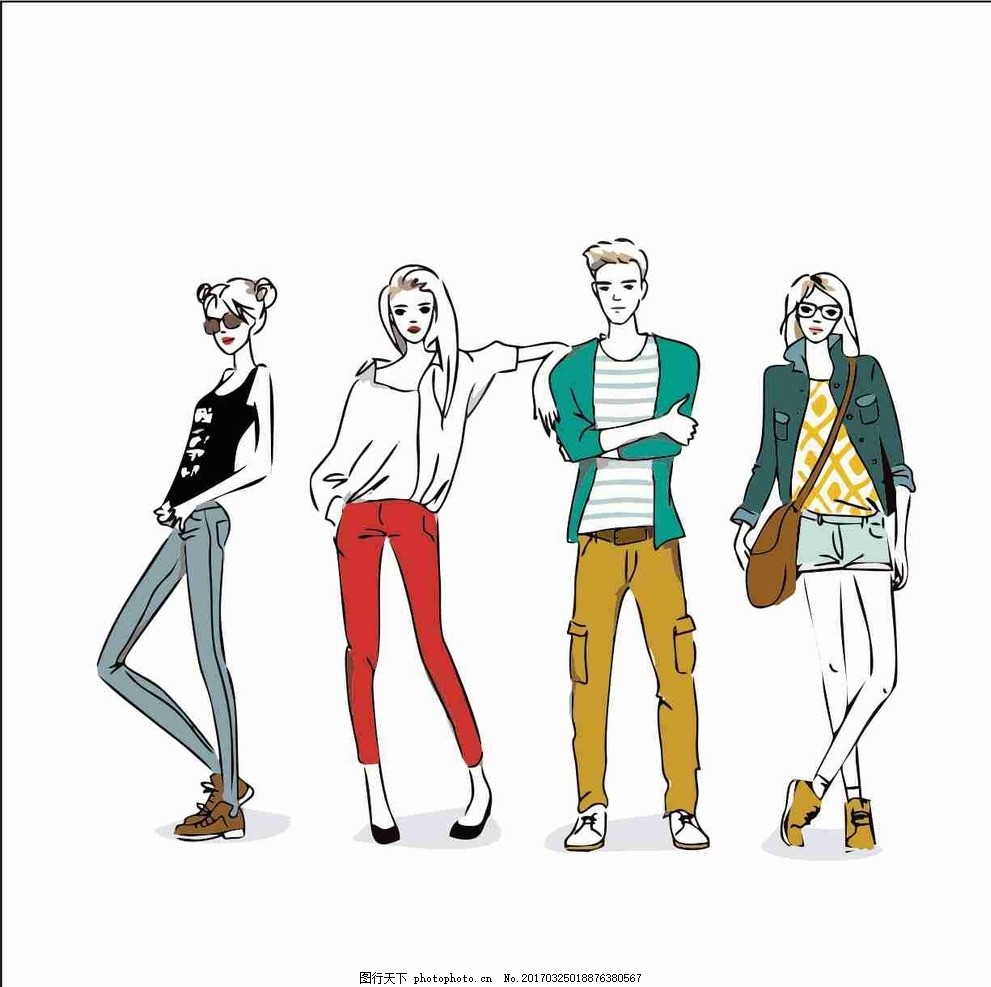 糖菜 时尚 时装模特素材 卡通手绘元素 扁平化 时尚男 时尚女