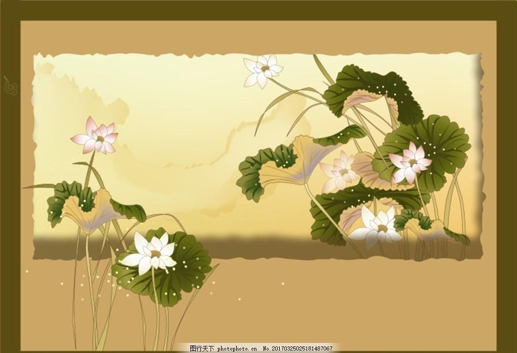 工笔画 花鸟矢量素材 工笔花鸟 中国画 喜鹊 精美鲜花 水墨画 荷花