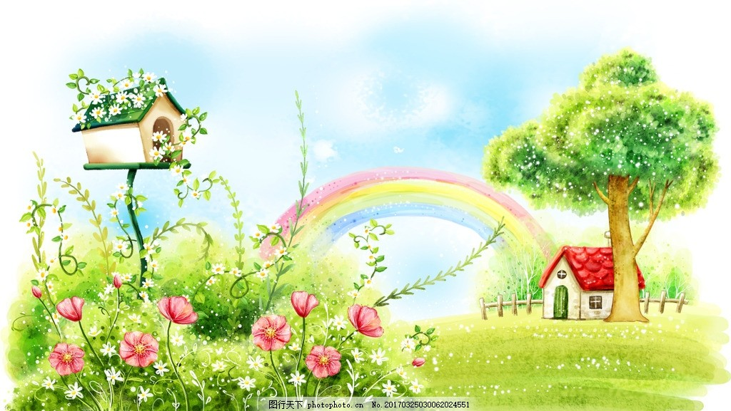卡通人物 手绘图 彩色图 水彩画 风景画 手绘风景 插花 清新画 儿童画