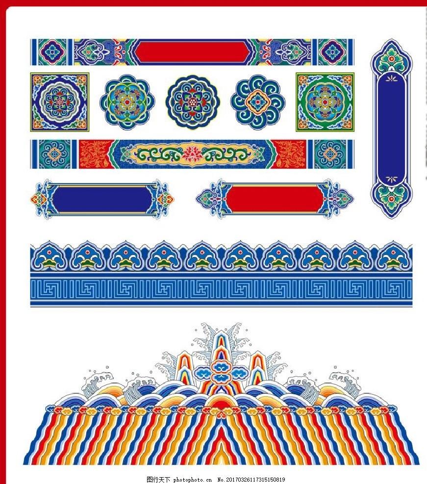 彩画 古代建筑 斗拱 传统 民间 仿古 建筑彩绘 古建筑 横梁彩绘 亭子