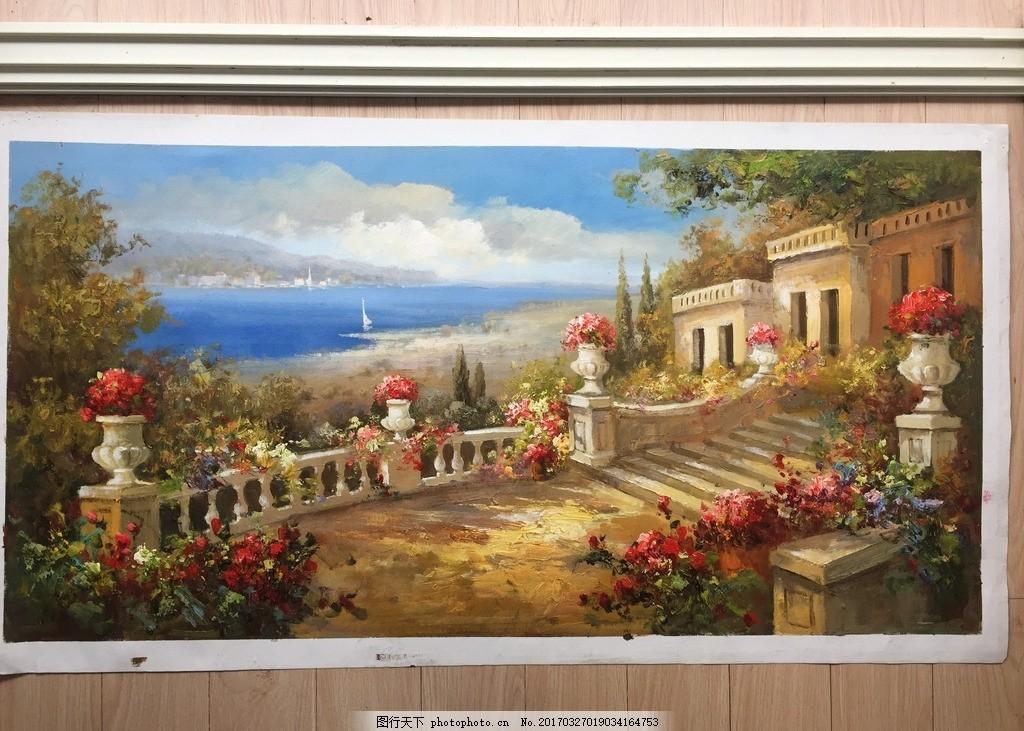 纯手绘地中海风格油画作品 手绘 地中海 油画 街景 风景 摄影 文化