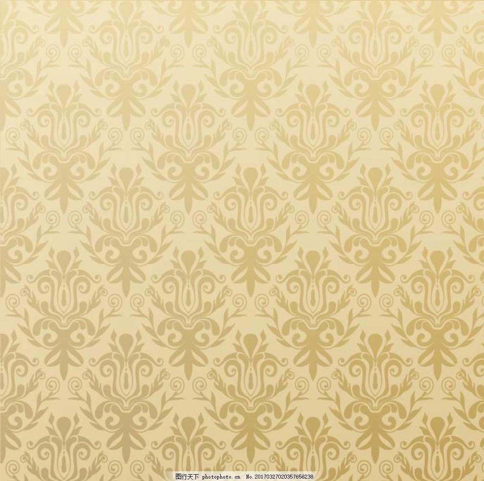 复古欧式花纹 布纹 花纹花边 平铺 花纹背景 金色花纹 底纹 边框