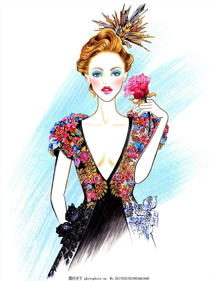 穿礼服的女人 刺绣礼服 长裙 黑裙 黑纱 花朵 红唇 手绘女 设计 人物