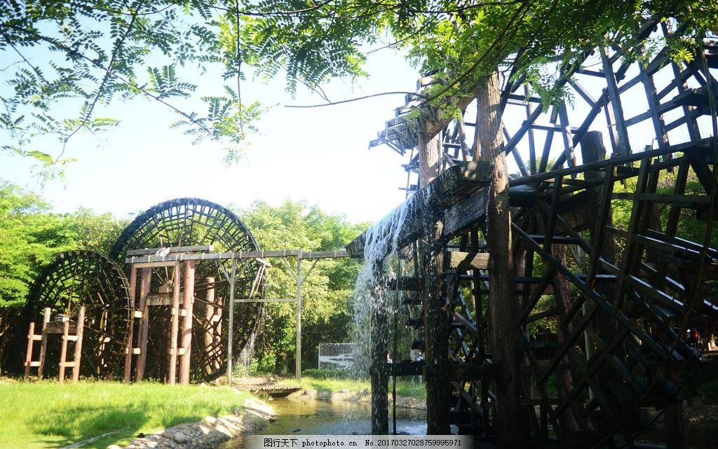 厦门园博苑 风景 古风建筑 木质水车 流水 素材 木拱桥 背景 园林建