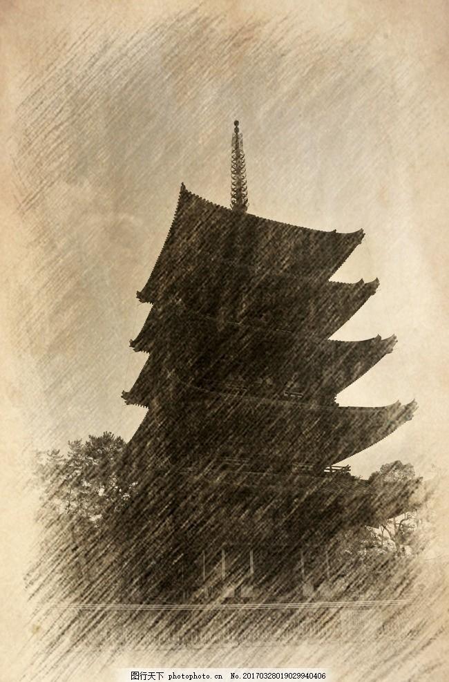 古建筑素描写生 古建筑素描 素描 写生 艺术 速写 老照片 老房子 古