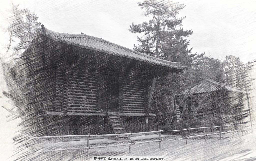 古建筑素描 写生 艺术 速写 老照片 老房子 寺庙 黑白照片 历史