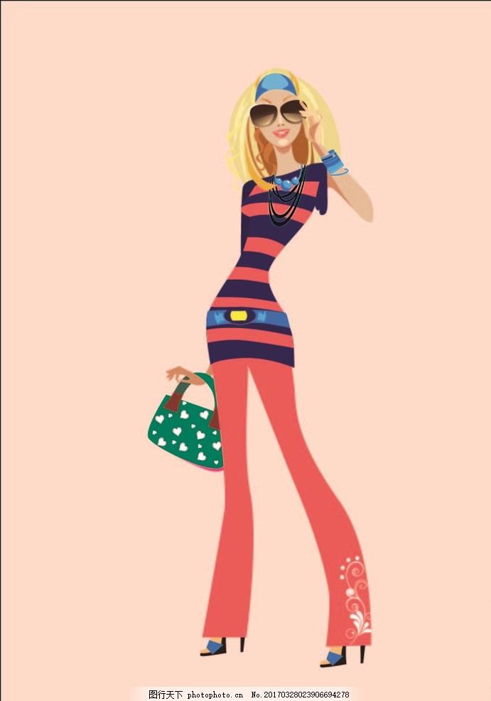时尚女性 彩绘时尚美女 矢量素材 彩绘美女 购物女人 购物袋 手提包