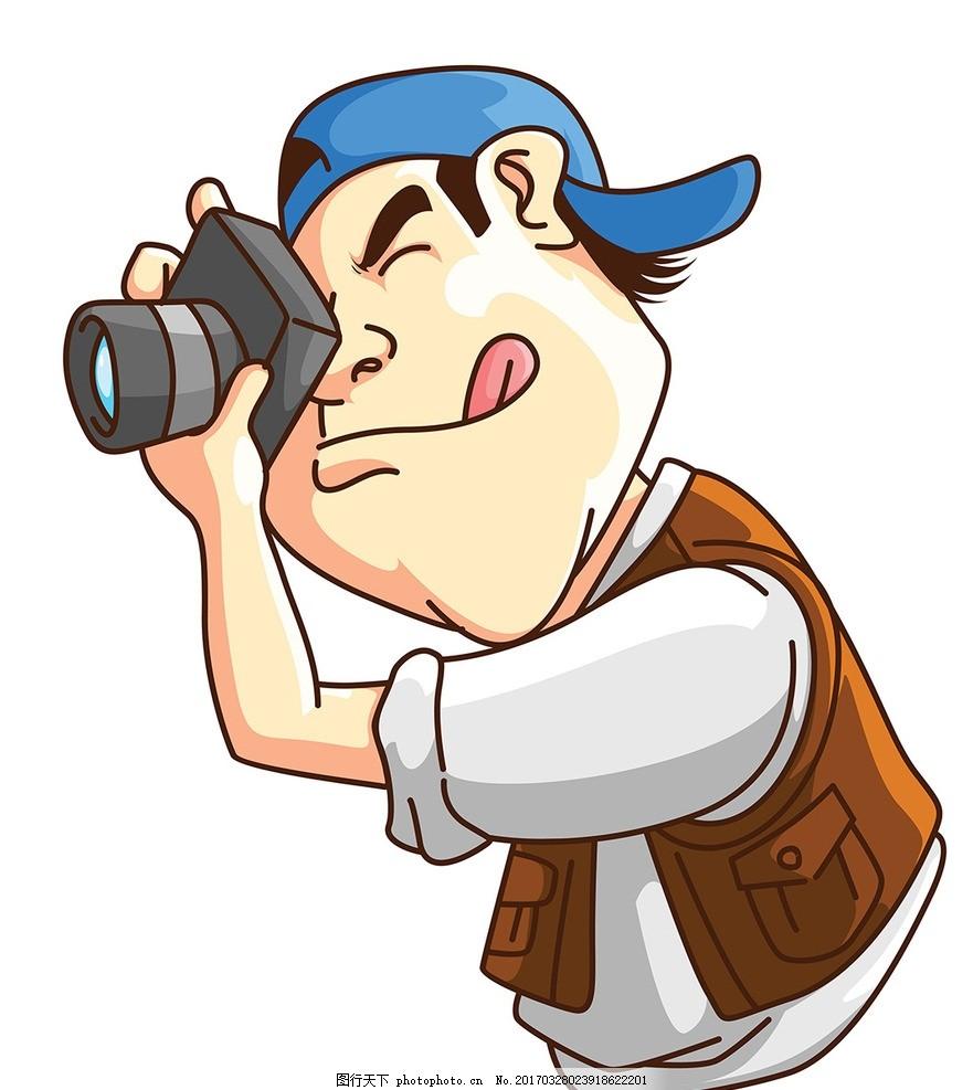 精美摄影人物 矢量素材 拿着照相机人 矢量人物 黑白人物 照相机素材